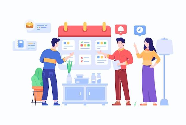 People manage work schedule on calendar flat design style illustration