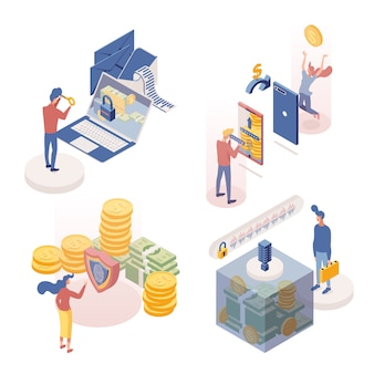 People managing deposits isometric characters set