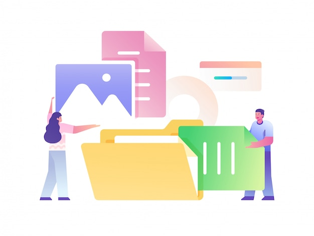 People managing file concept flat illustration