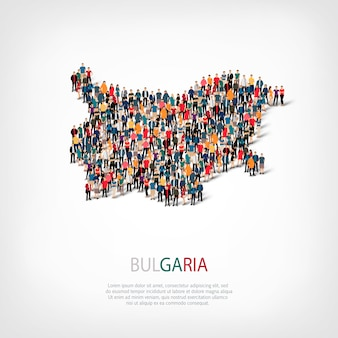 People map country bulgaria Premium Vector