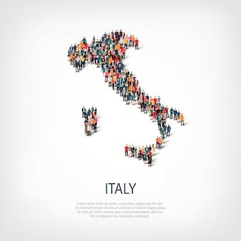 人々は国イタリアをマップします
