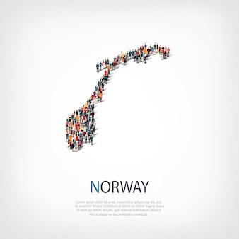 사람, 노르웨이의지도. 국가 모양을 형성하는 군중.