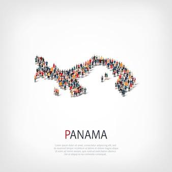 人、パナマの地図。国の形を形成する群衆。