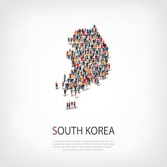 Люди, карта южной кореи. толпа, образующая форму страны.