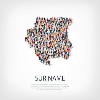 人、スリナムの地図。国の形を形成する群衆。