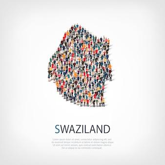 人、スワジランドの地図。国の形を形成する群衆。