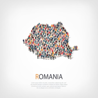 People, map of romania. crowd forming a country shape.
