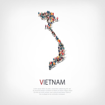 People, map of vietnam. crowd forming a country shape.