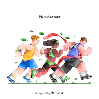 People on a marathon race
