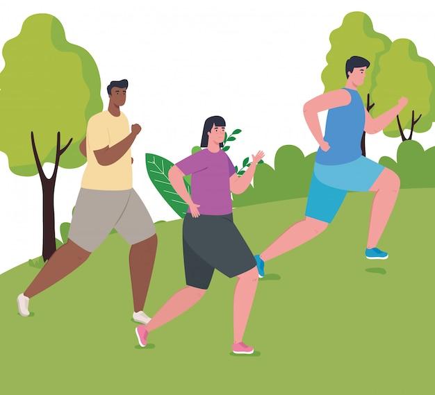Люди марафонцы бегут в парке, мужчины и женщины, бегут соревнования или марафонские гонки, плакат, здоровый образ жизни и спорт