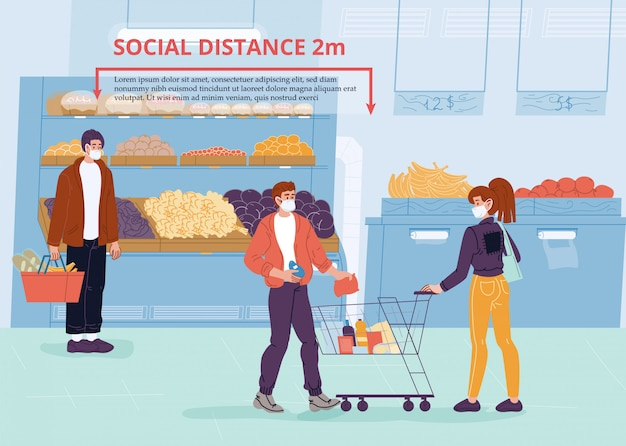 People in mask social distancing at grocery shop