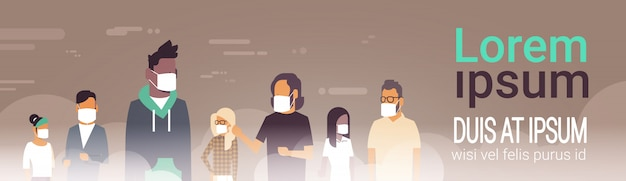 People in masks for pollution banner template