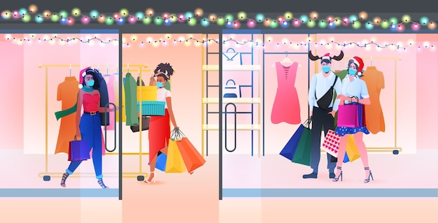 People in masks walking with purchases new year big sale promotion discount concept shopping mall interior full length horizontal vector illustration