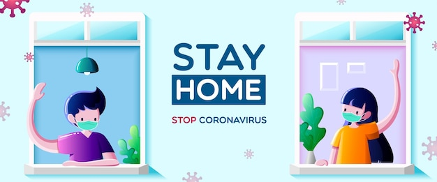 People in medical mask stay at windows and look out of apartment. communication of neighbors, stay at home campaign for coronavirus prevention concept.