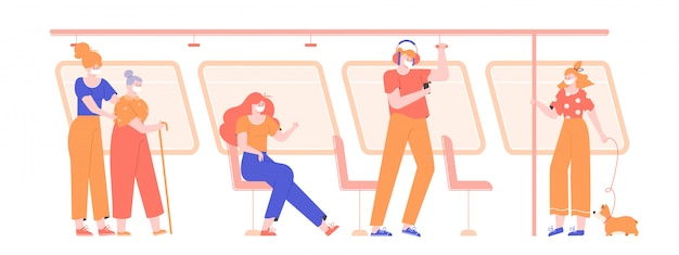 People in medical masks in public transport during a virus pandemic. influenza, protecting oneself and others from illness. passengers of the subway, bus, tram.  flat illustration.