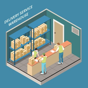 People in medical masks working in delivery service warehouse pick up point office 3d isometric illustration