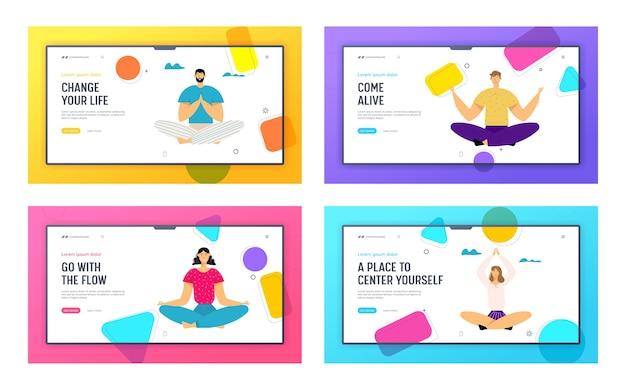 Lotus pose 웹 사이트 방문 페이지 세트에서 명상하는 사람들