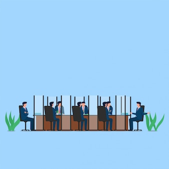 People meeting on desk with divider on each of their seats metaphor of physical distancing. business flat  concept illustration.
