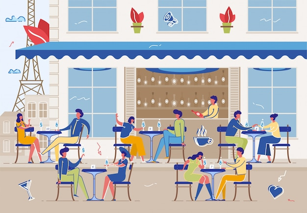 People meeting and eating out in public place