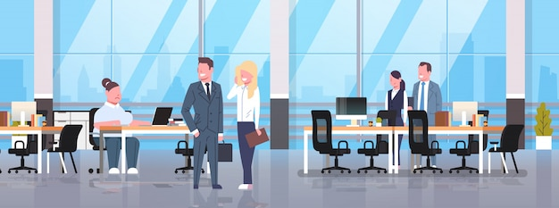 コワーキングオフィスで会議の人々議論する職場のビジネスマンに座っている女性