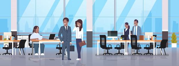 コワーキングオフィスで会議の人々職場に座っている女性