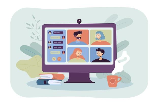 화상 회의 평면 그림을 통해 온라인으로 회의하는 사람들. 잠금 중 가상 집단 채팅에 동료의 만화 그룹
