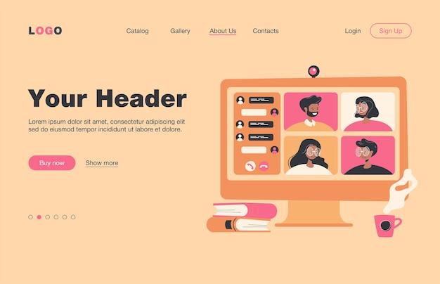 화상 회의 플랫 랜딩 페이지를 통해 온라인으로 회의하는 사람들. 잠금 중 가상 집단 채팅에 동료의 만화 그룹. 화상 회의 및 디지털 기술 개념