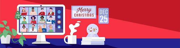 크리스마스 휴일에 컴퓨터에서 화상 회의를 통해 온라인 회의를하는 사람들.