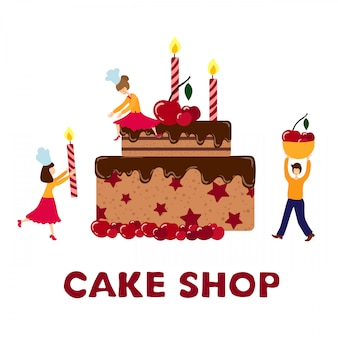 People - men, women - cooking, decorating birthday cake