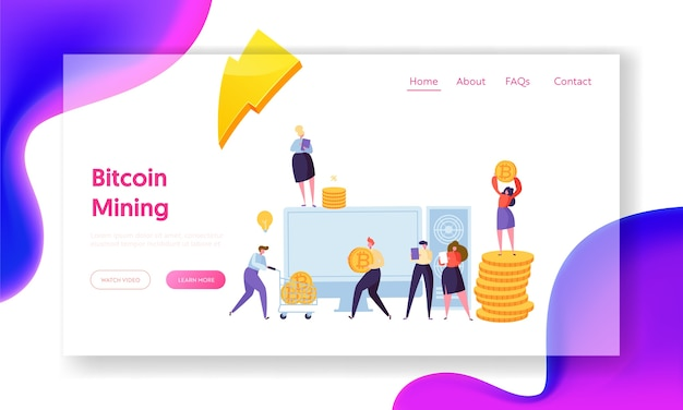 People mining bitcoin cryptocurrency landing page. human investigate arrival cryptocoin digital money. woman effective increase profit virtual cash concept for website flat cartoon vector illustration
