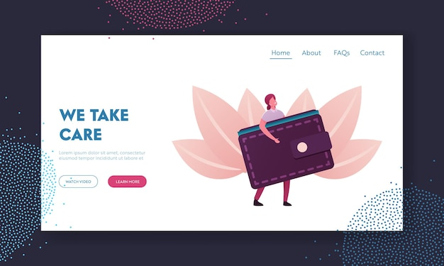 People and money landing page template.