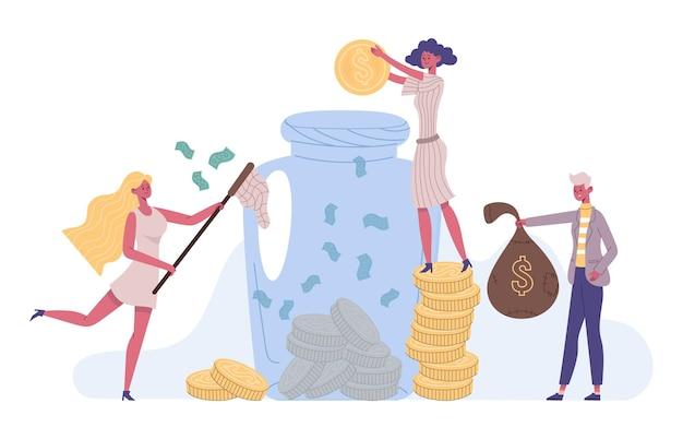 Люди экономят деньги, концепция финансовых инвестиций успеха. инвестиции, увеличение капитала финансовой стратегии, экономия денег векторные иллюстрации. персонажи экономят деньги