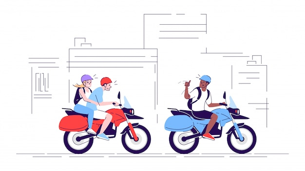 People on motorcycles flat doodle illustration