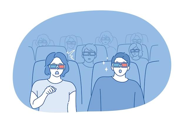 人々、映画のコンセプト。映画館や劇場に座っている若いカップルの男性女性のボーイフレンドのガールフレンド