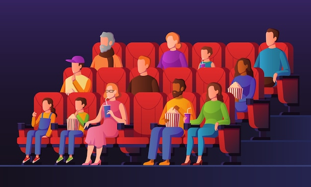 People in movie hall. kids and adults watch cinema sitting on red chairs with popcorn in movie theater. entertainment  watching crowd concept