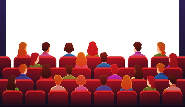 People in movie theater. guys watch sitting on red chairs in front of white screen in movie hall.
