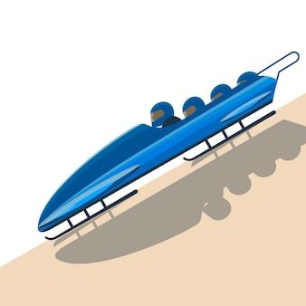 Люди движутся на бобслее на высокоскоростной векторной иллюстрации. зимний бобслей с командами из четырех человек - бег по узким ледяным трассам на санях с гравитационной тягой.
