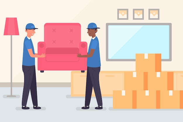 People moving furniture illustrated
