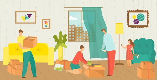 People moving house of happy family packing things into boxes for new house movement