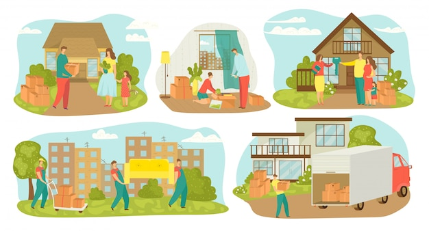 People moving house, new home relocation set of  illustrations. family movers with boxes, carrying furniture, containers. movement to new house with truck transportation, sell house.