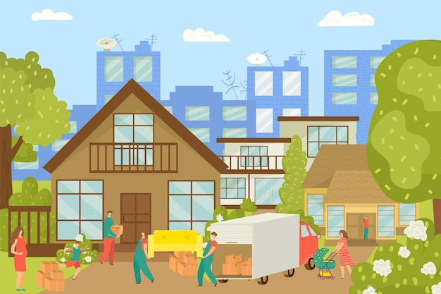 People moving house, new home and workers carrying furniture, cardboard boxes  illustration. happy people in new cottage. movement to country house. real estate property