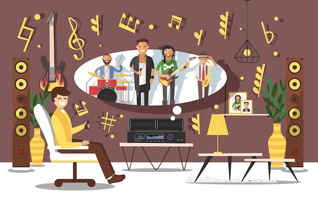 Люди музыканты дают человеку хорошее настроение иллюстрации. поклонник слушает песню на больших музыкальных колонках. в комнате любимая группа