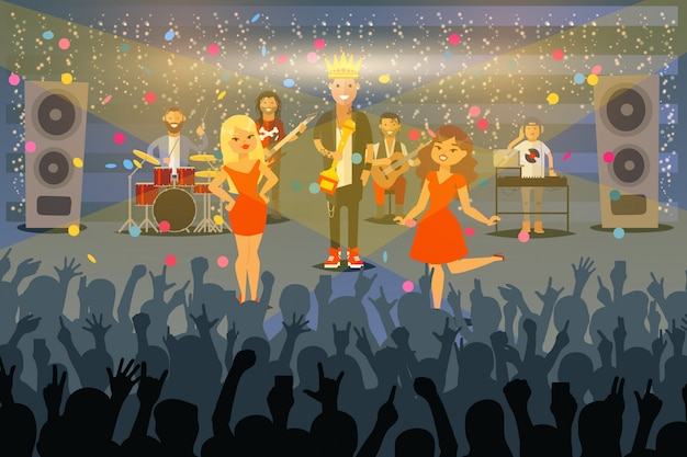 People musicians perform at concert in front public,  illustration. music group receive award on stage, famous singer