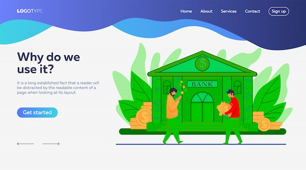 People near bank building landing page template