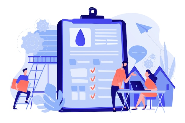 People near huge paper tablet with report of water flow and checkboxes analyzing data. water management, ecology, iot and smart city concept. vector illustration