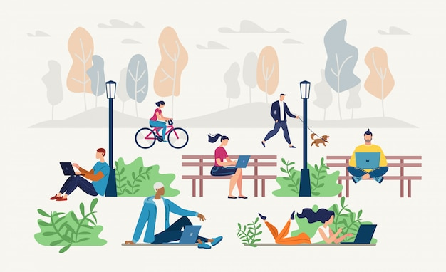 People networking in city park flat vector concept