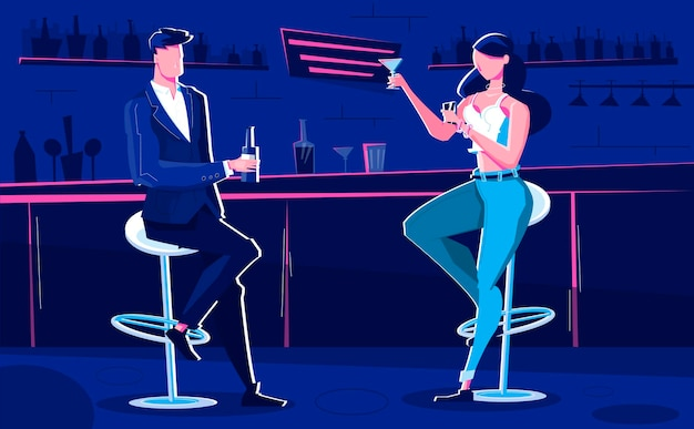 People at night club illustration