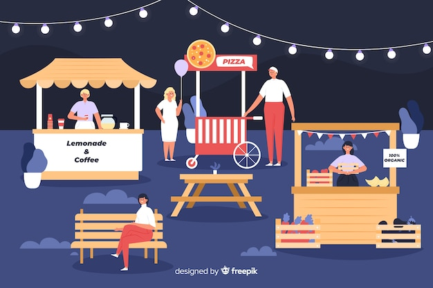 People at a night fair flat design