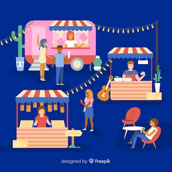 People at a night fair