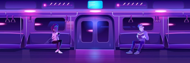 People in night subway train car woman with phone and man with book in metro wagon with neon glowing illumination Free Vector